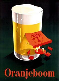 Dutch ad poster for Oranjeboom (Orange Tree) beer - 1950 - artist Reyn Dirksen.