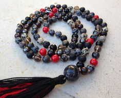 ROOT CHAKRA #iAM Mala Bead Necklace, Hand Knotted Mala Beads for Base Chakra, 108 Mala, Black Prayer Beads by FTSoul on Etsy https://www.etsy.com/listing/252837822/root-chakra-iam-mala-bead-necklace-hand