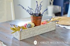 Camelot Art Creations: DIY Pallet Flower Box { Tutorial } I am in love with this...love the old crate and the words on it.