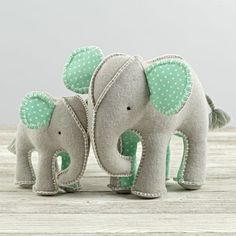 Sewing Stuffed Animals Shop Elephant Stuffed Animals, Set of They say an elephant never forgets. We don't know if that's true, but you'll never forget the intricate stitching, playful patterns, and soft construction of these plush elephants. Elephant Stuffed Animal, Sewing Stuffed Animals, Stuffed Animal Patterns, Baby Elephant, Felt Stuffed Animals, Sewing Toys, Sewing Crafts, Sewing Projects, Baby Toys
