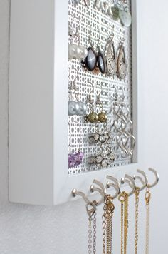 Hook Earring Necklace Organizer 5x7 Gray Frame Ideas for the