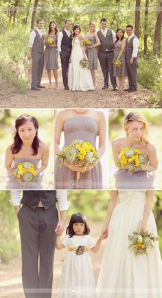 We love outdoor weddings! This one we found on labellebride.com is simply beautiful. We love the yellow's and gray's! We also love her simply lovely hairstyle!