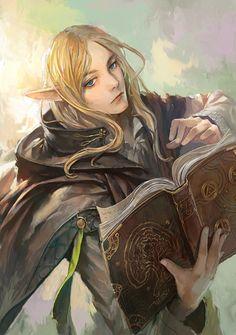 f High Elf Wizard Robes Cloak Magic Book Traveler lg Fantasy Artwork, Fantasy Concept Art, 3d Fantasy, Fantasy Character Design, Medieval Fantasy, Character Art, Elf Characters, Dungeons And Dragons Characters, Fantasy Characters
