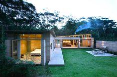 open plan rammed earth house