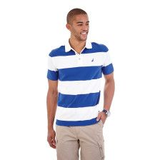 Bold Stripe Performance Deck Polo Shirt - Bright White