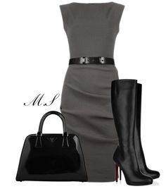 Simple & Classy. Love the boots, but not with the dress.