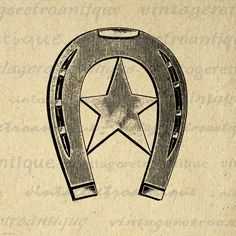 Digital Western Horseshoe with Star Printable Download Horse Shoe Image Graphic Antique Clip Art. High resolution digital graphic. This printable digital artwork works well for transfers, making prints, tote bags, and more great uses. Real vintage clip art. Personal or commercial use. This graphic is high quality at 8½ x 11 inches large. A Transparent background png version is included.
