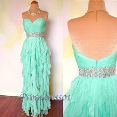 Coral Elegant mint chiffon irregular handmade graduation dress Evenin Prom Dress #Handmade #Sheath #Formal