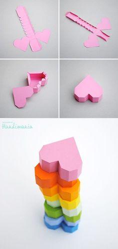 Coração geométrico de papel