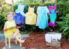 Princess Laundry Day photo shoot for third birthday. Perfect for three year old girl pictures or birthday photos.