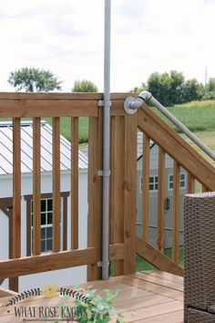 How to Hang Deck Lights With Poles For the pipe posts we (when I say Hanging Patio Lights, String Lights Outdoor, How To Hang Patio Lights, Deck Post Lights, Backyard Lighting, Outdoor Lighting, Deck Lighting Ideas Diy, Laying Decking, Deck Construction