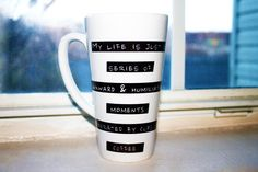 DESIGN BY SO SHE DID DESIGN® My Life Is Just A Series Of Awkward & Humiliating Moments Separated By Cups Of Coffee | Awkward | Coffee Mug | Funny, Hilarious | Latte Mug