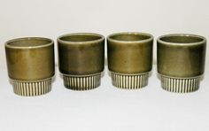 4 vtg 1960s Poole Pottery CHOISYA olive green stacking egg cups