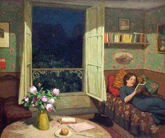 Perfect evening Simon, Tavik (Czech, 1877-1942) - Vilma reading on a Sofa - c 1912