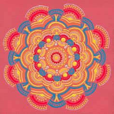 """Orange Sun Coral Mandala"" Original Acrylic by JoyMandalasArt."