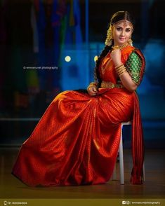 South Indian Wedding Saree, Indian Bridal Photos, Indian Bridal Outfits, Indian Bridal Fashion, Indian Bride Photography Poses, Indian Bride Poses, Wedding Photography, South Indian Blouse Designs, Bridal Blouse Designs