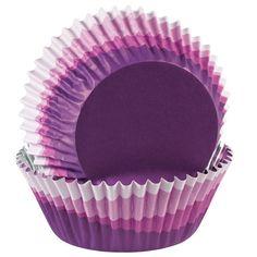 Multi-colored purple cupcake cups. Includes 36 cups.