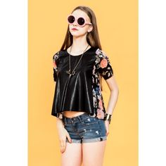 MARISA #LEATHER PATCH WORK #CROPPED #TOP