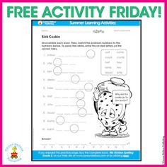 FREE language arts activity! Why did the cookie go to the doctor? Download the activity sheet and answer key by clicking on the image!