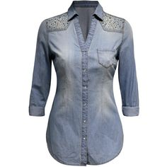 Jane Norman Embellished Denim Shirt ($13) ❤ liked on Polyvore featuring tops, shirts, light blue, blue top, denim snap shirt, light blue shirt, light blue denim shirt and blue shirt