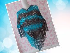 crochet: rockin' pocho by Mama Netty (turquois and brown)