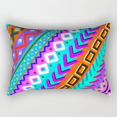 "Our Rectangular Pillow is the ultimate decorative accent to any room. Made from 100% spun polyester poplin fabric, these ""lumbar"" pillows feature a double-sided print Painted Tribal Multi-Color Rainbow A painted print of pink purple red orange black brown yellow green lime mint maroon violet blue modern painting bohemian trend trendy wanderlust inspiration inspiring dream dreamy catcher wanderlust 80's 90's colorful positive attitude hippie happy"