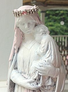 "$88 Vintage, weathered, shabby French style, 8.75"" Tall Madonna and Child altar shrine statue featuring The Blessed Mother, Virgin Mary, Holding..."