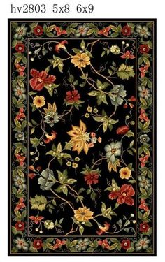 Black  Chelsea Floral Country Rug | Free Shipping! |  Safavieh No. HK311