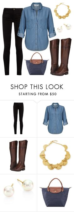 """""""Weekend Outfit"""" by lbernic ❤ liked on Polyvore featuring Gucci, Miss Selfridge, Frye, Lele Sadoughi, Majorica and Longchamp"""