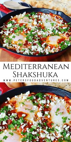 This Shakshuka recipe is one of my favorite Middle Eastern meals. Colorful, spicy and delicious. An simple dish with everyday ingredients your family will love. Eggs in Tomato Sauce, perfect for breakfast, brunch or dinner. Delicious Breakfast Recipes, Brunch Recipes, Dinner Recipes, Brunch Food, Dessert Recipes, Yummy Food, Vegetarian Recipes, Cooking Recipes, Healthy Recipes