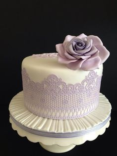 """""""Shades of Lavender"""" Wedding Cake ~ handmade Edible Lace and Sugar Flowers"""