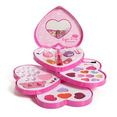 Little Fairy Princess Washable Makeup and Nail Heart Palette with Mirror. This make-up palette swivels into a compact heart carrying case. This makeup set makes a great gift. Great for kids ages Little Girl Makeup Kit, Makeup Kit For Kids, Kids Makeup, Makeup Set, Clown Makeup, Mac Makeup, Makeup Brushes, Makeup Ideas, Make Up Kits