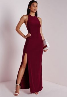A more seductive look, in a long dress, a chic split to the front and crossover to reverse this burgundy maxi dress. Style with stunning silver strappy heels and metallic clutch for a luxe look. Ball Dresses, Sexy Dresses, Cute Dresses, Beautiful Dresses, Dress Outfits, Evening Dresses, Formal Dresses, Quinceanera Dresses, Homecoming Dresses