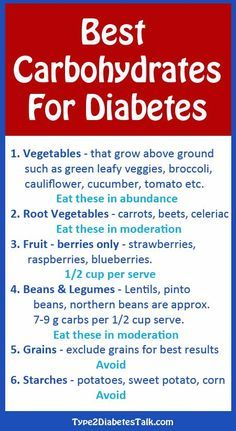 Best Carbohydrates for diabetes - this is the simple breakdown, check out the full list for details on why it's important.