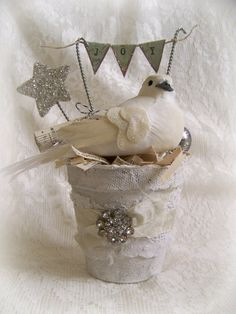 Altered Peat Pot Handmade Winter White Christmas Decoration  Carol Richards-Berger