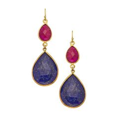 Belair Cherry Ruby And Lapis Drop Earrings ($150) ❤ liked on Polyvore