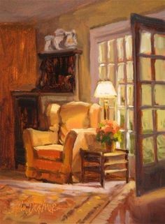 "Daily Paintworks - ""Invitation to Rest"" ~ 8 x 6 Original Fine Art for Sale - Oil on RayMar canvas panel © Erin Dertner #livingroom #frenchdoors"
