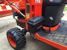 """Tool Box You're out on a job and you need a hammer. Avoid the """"uh oh"""" moment with a fixed mount tool box. Some new tractors come with them now, Kubota Compact Tractor, Sub Compact Tractors, Small Tractors, Case Tractors, Lawn Tractor Trailer, Tractor Loader, New Tractor, Compact Tractor Attachments, Garden Tractor Attachments"""