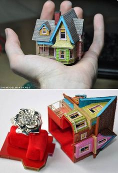 """Pixar's """"UP"""" House Engagement Ring Box. Not the ring just the box. Cutest thing ever Up Pixar, Disney Pixar, Just In Case, Just For You, Before Wedding, Up House, Cute Rings, Pretty Rings, To Infinity And Beyond"""