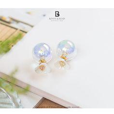 Bonny & Read 平價飾品 - [正韓] 晶透白花糖耳環