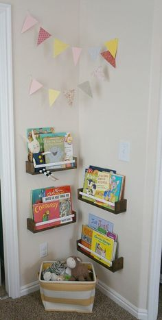 Sweet book corner in A Neutral Plus Modern Pastels Shared Room for Sisters.