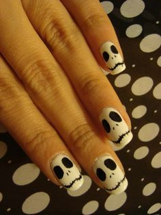 The Nightmare Before Christmas inspired nails. Jack made from white polish and permanent sharpie black pen, free-handed design. #jack #halloween