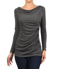 Charcoal & Charcoal Button-Accent Boatneck Top