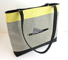 Yellow Wallpaper HM - Railway Tote- Striped Canvas and Linen