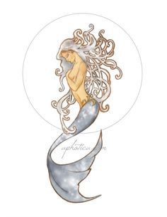 art nouveau mermaid original art print 8.5x11 by aphotica on Etsy, $11.00