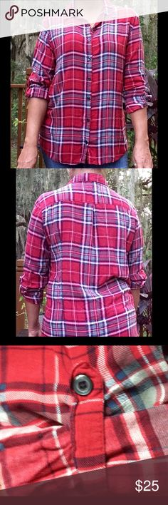 Wet Seal Plaid Flannel Top ❤️ So cute and perfect for winter and fall 🍁⛄️🍁 Red, blue and cream colored plaid design.  Buttoned down front and one loop with button on each sleeve for easy cuffing.  100% Rayon.  Gently worn.  Looks great under a denim or leather jacket.  Also looks adorable worn around waist with a pair of leggings and boots.  🚫Price is FIRM🚫 Thank you 😊 Happy Poshing! 👗👠👛💄👒👄💁🌸 Wet Seal Tops Button Down Shirts