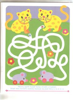 (2016-10) Katte, mellem Preschool Kindergarten, Preschool Crafts, Crafts For Kids, Mazes For Kids, Worksheets For Kids, Teaching Kids, Kids Learning, Maze Book, Prewriting Skills