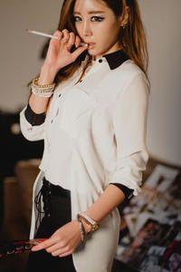 White Asymmetric Long Line Asian Fashion Shirt With Black Details