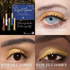 Limited Edition Warm Gold Shimmer ShadowSense is part of the Royal Gems Collection.  It has a vibrant gold with a shimmer finish.  #warmgoldshimmer #royalgems #shadowsense