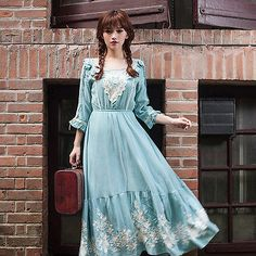 Japanese woman Lolita Mori Girl Embroidery Retro Dress Princess Long dress #T-R7